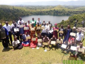 Participants receiving their certificates on completion of the 5 day training course