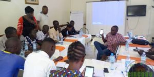 Enumerators and field supervisors under going a training session on how to use mobile gadgets to collect data in Arua